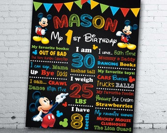 Mickey Mouse Birthday Chalkboard - Mickey Mouse 1st Birthday Chalkboard - Mickey Mouse Sign - Mickey Mouse Birthday Poster