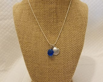 Blue Sea Glass & Shell Pendant Necklace