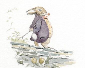 my handpainted watercolour of... Beatrix Potter's Mr Benjamin Bunny (framed)