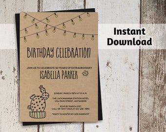 Cactus Birthday Invitation for Women - Printable Template - Rustic Kraft Paper - Instant Download Digital File - Adult 21st 30th 40th 50th
