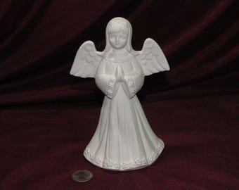 Ceramic Bisque U-Paint Angel In a Flowery Dress Unpainted Ready To Paint DIY