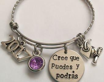 Graduation bracelet-cree que puedes y podras graduation bracelet-2017 or 2018 stainless steel bracelet-Spanish graduation bracelet