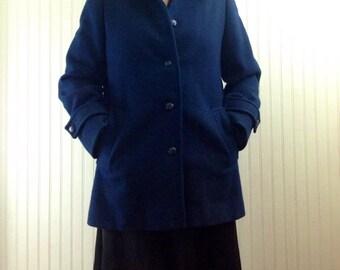 Pendleton Pea Coat Vintage Navy Blue Womens L *Imperfect*