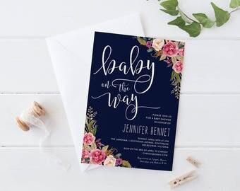 Printable Baby Shower Invitation, Bohemian Flower Navy Blue Baby Shower Invitation Set, Garden Pink Flower Baby On The Way Shower Invitation