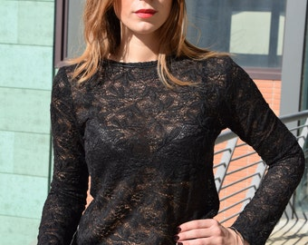 Black blouse , Lace top , Black lace blouse, evening top , elegant black blouse