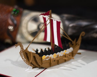 Viking Ship Card, Viking Ship Pop Up Card, Vikings Card, Viking Card, Cool Viking Card, Lovepop