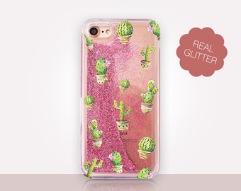 Colorful Cactus Glitter Phone Case Clear Case For iPhone 8 iPhone 8 Plus - iPhone X - iPhone 7 Plus - iPhone 6 - iPhone 6S - iPhone SE