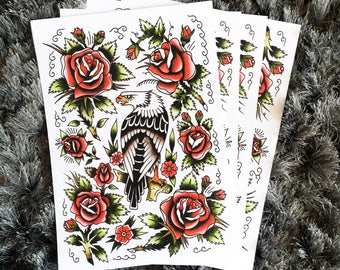 Eagle and Rose's Tattoo Flash Print