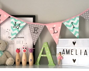 Pink, Mint Green and Grey Personalised Bunting