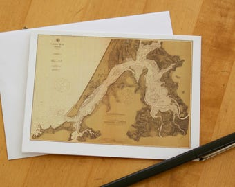 "Coos Bay Map Note Cards (1912) 4.25""x5.5"""