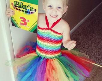 Rainbow tutu dress, rainbow tutu, colorful tutu dress, girls rainbow tutu, photo shoot dress, rainbow birthday dress size 2-5 years