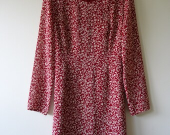 Red White Floral Mini Dress long-sleeve vintage 60's / 70's