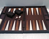 Vintage Backgammon Travel Set, Brown and Beige Cloth with Faux Leather Trim, Mid Century, Circa 1960s