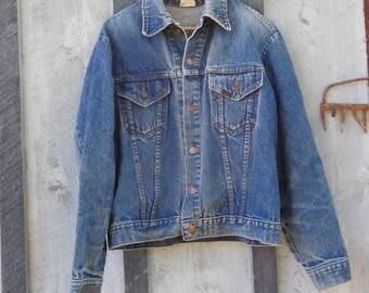 70s vintage denim jacket / blue jean cropped coat brass buttons / boho hipster hippie festival / Sears Roebuck / sturdy distressed / unisex