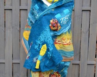 Felted scarf blue Handmade poncho wool wool cape