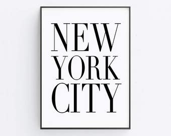 New York City Print — Typography Quote Printable Wall Art Typography Poster Black And White Print New York Poster Digital Download Instant