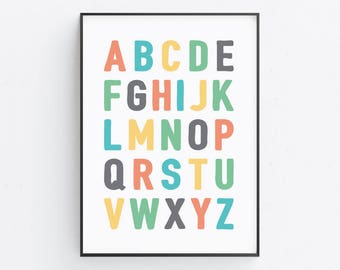 Alphabet Print — Nursery Alphabet Print ABC Letters Print Alphabet Colorful Print Children Printable Wall Art Digital Download Poster Print