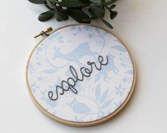 SALE: Wildlife & Nature 'Explore' Hand Stitched Embroidery Hoop Art