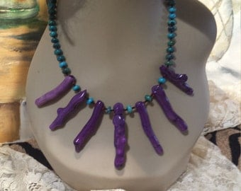 Turquoise and purple coral branch necklace