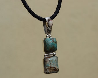 Turquoises Pendant with matrix opal set in .925 Sterlig Silver Handmade.