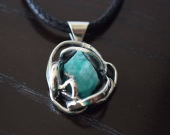 Natural Raw Colombian Emerald Pendant set in 950 Sterling Silver handmade.