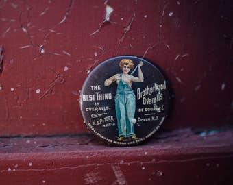 Antique Brotherhood Overalls Advertising Pocket Mirror Topless Woman Dover NJ