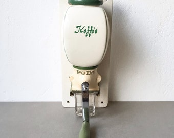 Vintage PeDe Coffee Grinder Wall Mounted Dutch Coffee Mill Green/ Cream 50's Holland Kitchenware