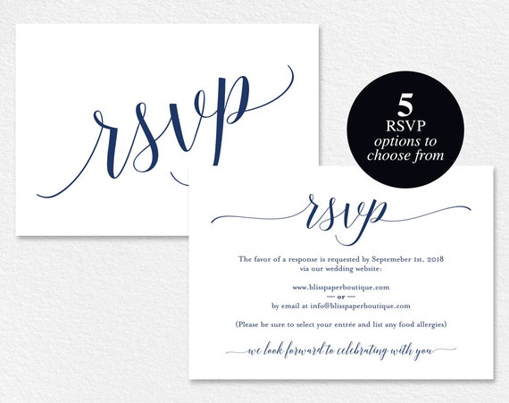 Online Wedding Invitations And Rsvp: Navy RSVP Cards RSVP Postcard Rsvp Template Wedding Rsvp