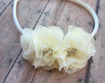 Ivory Flower Girl Headband - Ivory Wedding Headband - Ivory Headband - Toddler Headband - Flower girls headband - Hard headband - Hard band