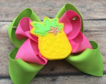 Pineapple Hairbow - Pineapple Hair Bow - Pineapple - Pineapple Bow - Yellow bow - yellow and pink - Beach hair bow - Summer - Boutique bow