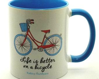 Bicycle Mug, Bicycle Coffee Mug Blue, Coffee Mugs, Bike Mugs, Bike Coffee Mugs, Blue Bicycle Mug Red Bike, Blue Coffee Mug
