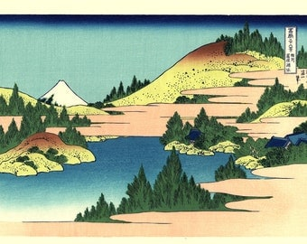 "Japanese Ukiyo-e Woodblock print, Katsushika Hokusai, ""The lake of Hakone in Sagami Province, Thirty-six Views of Mount Fuji"""