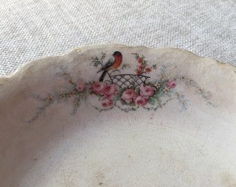 Homer Laughlin 1925 Robin and Pink Roses Bowl