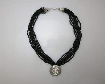 026 Saxon Pendant w/ Black and Silver Beads