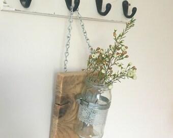 Applique murale faite en corde et en bois vieilli avec une - Applique murale rustique ...
