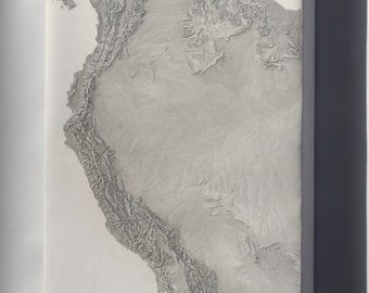 Canvas 24x36; Cia Terrain Map Of South America & Andes Mountains