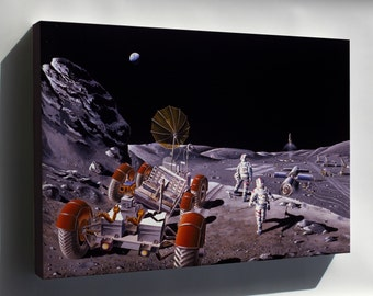 Canvas 24x36; Moon Colony With Rover