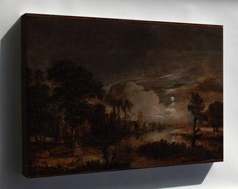 Canvas 24x36; Aert Van Der Neer - Moonlit Landscape With A View Of The New Amstel River And Castle Kostverloren -