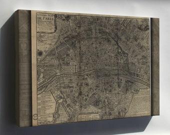 Canvas 24x36; Map Of Paris France 1705