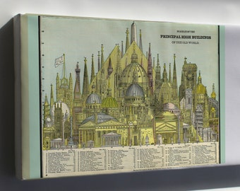 Canvas 16x24; Tallest Buildings Of Old World, 1884
