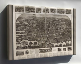Canvas 16x24; Aero View Map Of Westerly, Rhode Island 1911