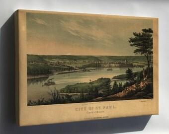 Canvas 16x24; Map Of City Of St. Paul, Minnesota 1853
