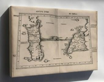 Canvas 16x24; Ptolemy Map Sicily & Sardinia Italy 2Nd Century