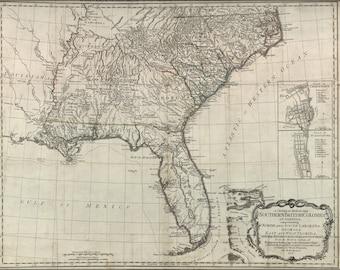 16x24 Poster; Map Of Georgia Florida North & South Carolina  1776
