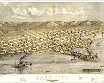 16x24 Poster; Map Of Lake City, Wabasha Co., Minnesota 1867