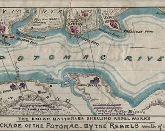 16x24 Poster; Map Of Blockade Of Potomac River 1861