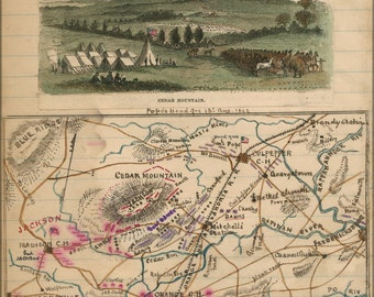 16x24 Poster; Map Of Cedar Mountain Vicinity And Battle 1862