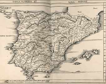 16x24 Poster; Map Of Spain And Portugal 1513
