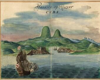 16x24 Poster; View Of The Port Of Havana Cuba 1639
