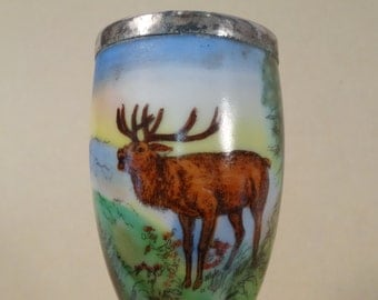Porcelain Pipe Bowl with Elk Design Paris Flea Market Find